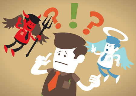 Illustration pour Great illustration of Retro styled Corporate Guy caught up in a Catch-22 battle of wills with both a devil and an angel helping him to decide. - image libre de droit