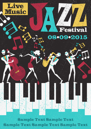 Ilustración de Retro styled Jazz festival Poster featuring an Abstract style illustration of a vibrant Jazz band and super cool lead singer who is striking a stylish pose and playing a musical performance live on stage. - Imagen libre de derechos