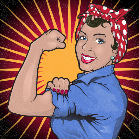 Ilustración de Great illustration of a Retro Stong Powerful Woman inspired by the Famous World War Two propaganda Poster of Rosie the Riveter calling for women to play their part in the war effort - Imagen libre de derechos