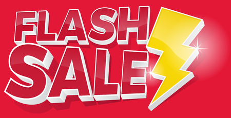 Illustration for Ultra Dynamic 3D Flash Sale Sign with Bright Yellow Lightening Bolt. - Royalty Free Image