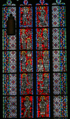 Photo for Stained Glass in Wormser Dom in Worms, Germany, depicting various Catholic Saints - Royalty Free Image
