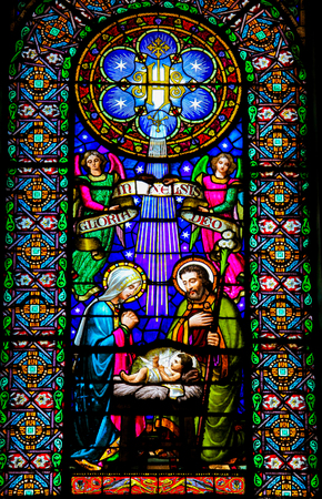 Photo for Nativity Scene, Stained Glass window in the Church of Montserrat, Spain - Royalty Free Image