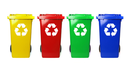 Photo for Four colorful recycle bins on white - Royalty Free Image