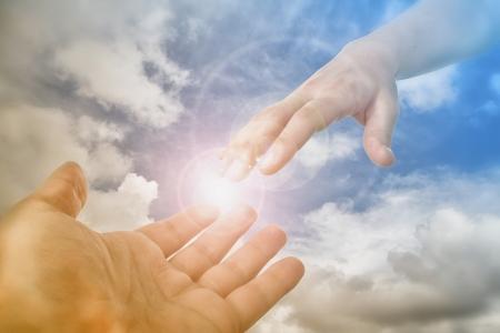 Foto de God Saving Hand reaching fot the faithful - Imagen libre de derechos