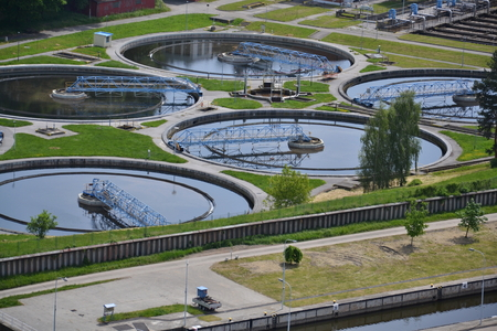 Foto de Aerial view of sewage water treatment plant in Prague, Czech republic - Imagen libre de derechos