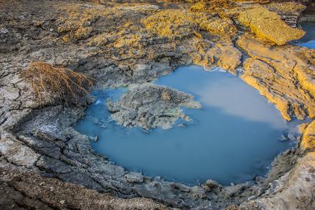 Dead sea landscape and crystal salt in Israel