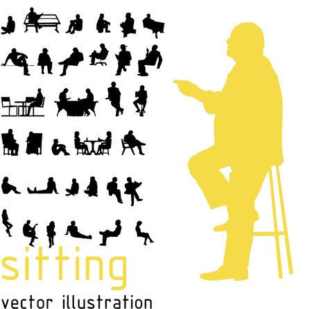 Photo pour Silhouettes of sitting people. - image libre de droit