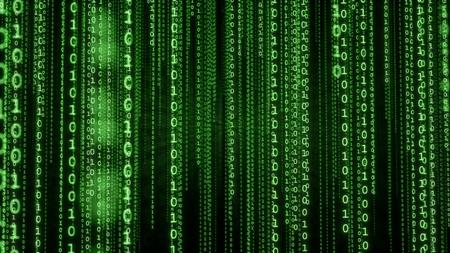 Photo pour Falling lines of green binary code. Matrix background - image libre de droit