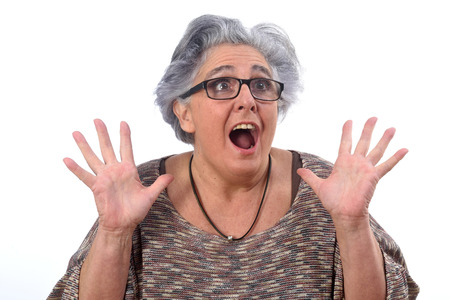 Foto de surprised woman on white background - Imagen libre de derechos