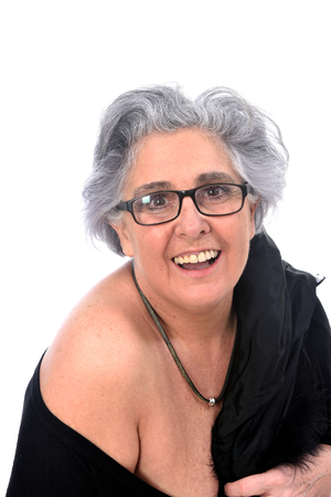 Photo for an older woman with a sexy posed on white background - Royalty Free Image