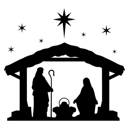 Ilustración de Nativity Scene Silhouette Holiday Holly Night Christmas. - Imagen libre de derechos