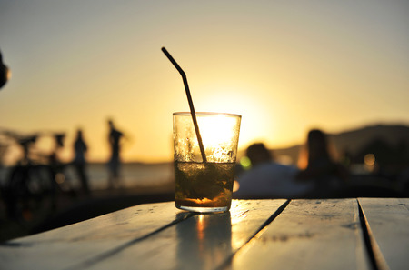 Photo for Cuban mojito at sunset on a beach bar - Royalty Free Image