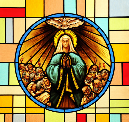 Foto de Pentecost, stained glass - Imagen libre de derechos