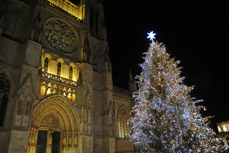 Photo pour Christmas tree in front of Cathedral of Saint Andrew, Bordeaux, France - image libre de droit