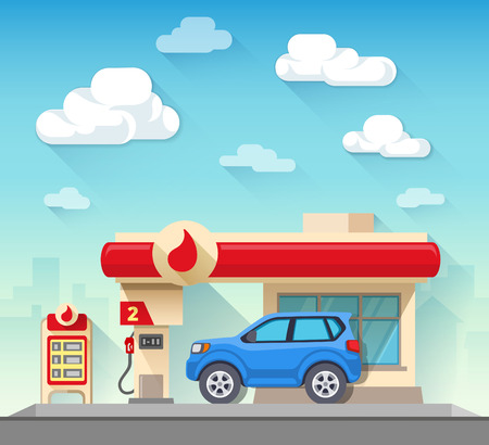 Illustration pour Flat vector illustration gas station and car in front of cloudy sky and city silhouette - image libre de droit