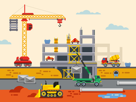 Photo pour Building Construction Flat Design Vector Concept Illustration. Concept Vector Illustration in flat style design. Real estate concept illustration. - image libre de droit