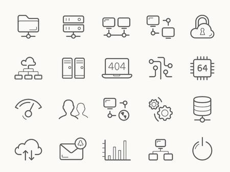 Ilustración de Network Hosting and Servers Line stroke vector Icons. - Imagen libre de derechos