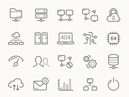 Illustration pour Network Hosting and Servers Line stroke vector Icons. - image libre de droit