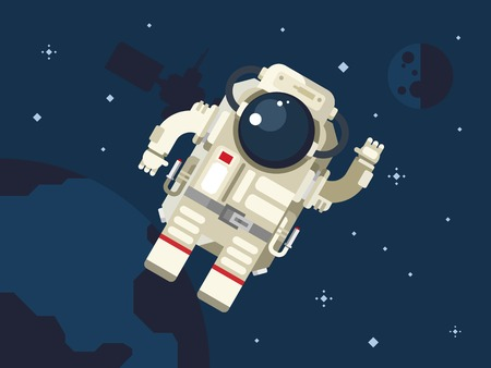Astronaut in outer space concept vector illustration in flat style.