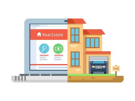Illustration for Real estate. Laptop and building, house isolated, residential symbol, concept online sell agency, cottage and mansion, marketing commercial residence. Vector illustration - Royalty Free Image