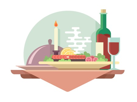Illustration pour Dinner at restaurant flat illustration. Vector eat and drink, glass of wine - image libre de droit