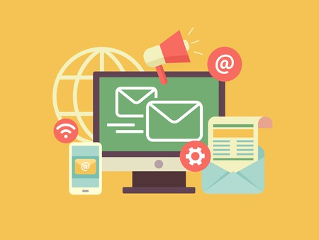 Ilustración de Email marketing. Propagation and sharing, promotion and support, optimization and megaphone. Flat vector illustration - Imagen libre de derechos