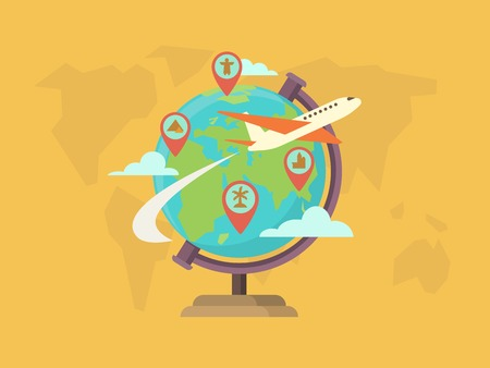 Illustration pour Travel around the world. Globe map, pin location, navigation and route, vector illustration - image libre de droit