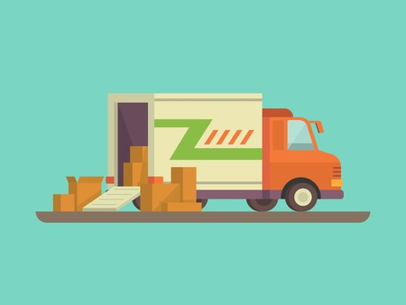 Illustration pour Unloading or loading trucks. Shipping cargo delivery, export or import,  transportation and logistic, flat vector illustration - image libre de droit