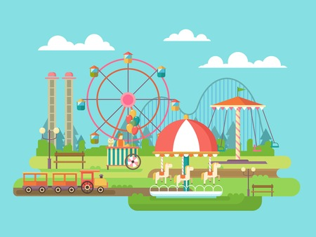 Illustration pour Amusement park. Riding on the carousel, family holidays. Flat vector illustration - image libre de droit