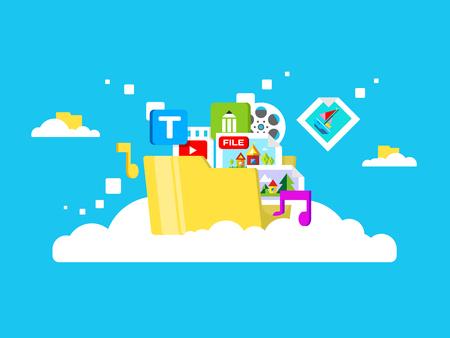 Illustration pour Cloud storage, folder with files of different formats. Document information, archive web, download and upload, flat vector illustration - image libre de droit