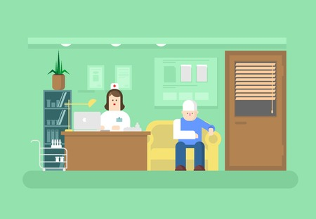 Illustration pour Reception of doctor in clinic. Hospital and doctor, medical health, patient and care, visit to specialist. Flat vector illustration - image libre de droit