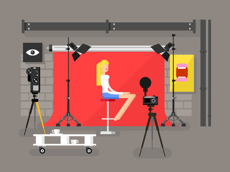 Illustration pour Photo studio interior with model. Fashion photography, equipment camera and lamp, vector illustration - image libre de droit