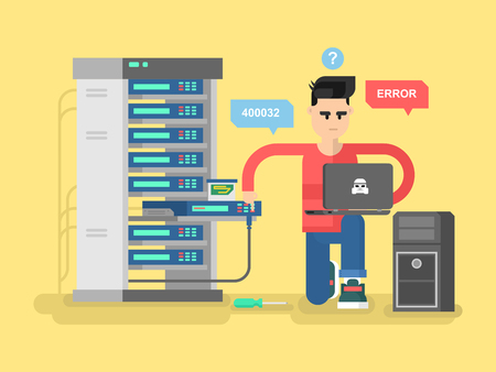 Illustration pour IT Specialist network. Technology computer, information and electronic, engineer repair system, vector illustration - image libre de droit