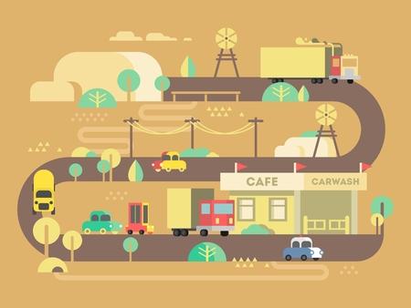 Ilustración de Roadside cafe design flat. Restaurant travel, outdoor and breakfast trip, bar building. Vector illustration - Imagen libre de derechos