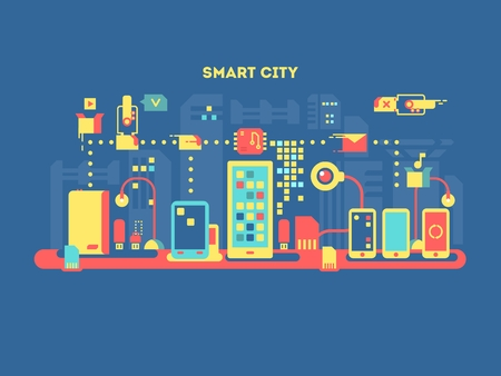 Photo pour Smart city concept. Technology communication, internet computer, urban mobile digital, vector illustration - image libre de droit