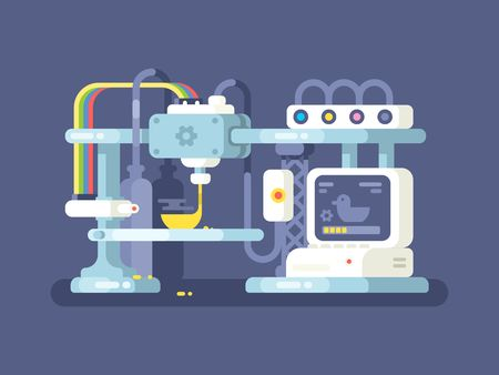 Illustrazione per 3d printing device flat design. Technology manufacturing and prototype. Vector illustration - Immagini Royalty Free