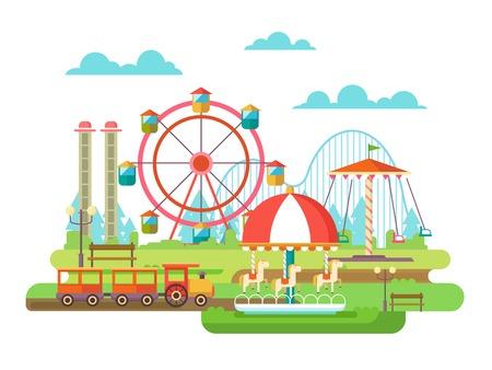 Illustration pour Amusement park. Riding on the carousel, family holidays. Flat illustration - image libre de droit