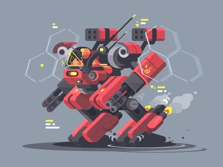 Ilustración de Military exoskeleton for soldier. Modern developments of army technology. Vector illustration - Imagen libre de derechos