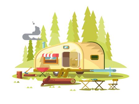 Illustration pour Trailer for travel in forest - image libre de droit