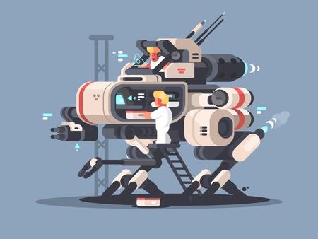 Illustration pour Exoskeleton medical for complex operation. Innovative medicine technologies. Vector illustration - image libre de droit