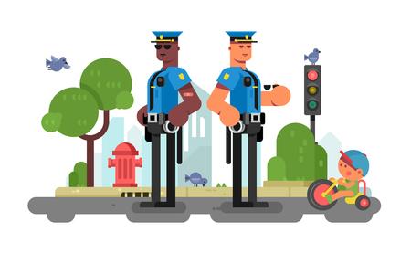 Foto de Police patrol officer on city street - Imagen libre de derechos