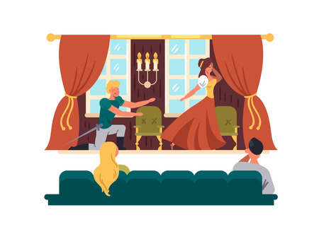 Illustration pour Theatrical performance on stage vector illustration - image libre de droit