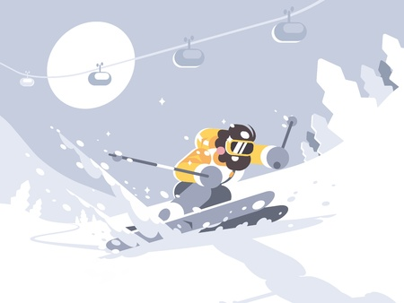 Illustration pour Skier skiing in ski resort - image libre de droit