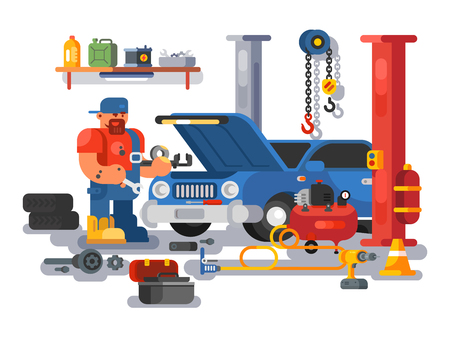 Illustration pour Mechanic worker repairs car in garage. Auto mechanic fixing engine in auto repair garage flat. Vector illustration - image libre de droit