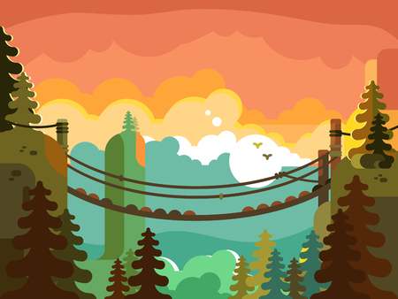 Illustration pour Suspension bridge in jungle design flat. Nature green park, adventure and active travel, vector illustration - image libre de droit
