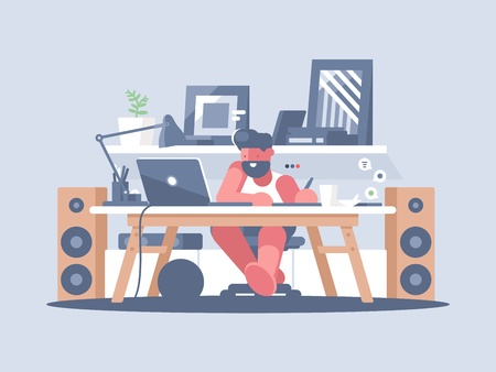 Ilustración de Freelancer works with laptop at home. Remote work of graphic designer. Vector illustration - Imagen libre de derechos
