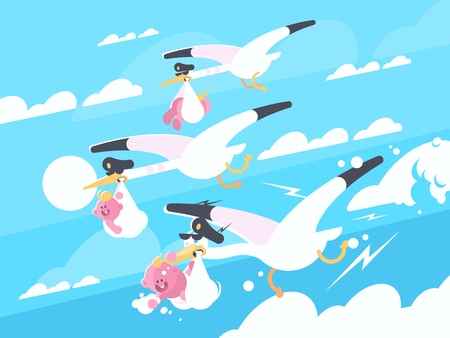 Illustration pour Storks carry babies in beaks Vector illustration. - image libre de droit