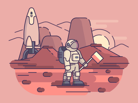 Illustration pour Astronaut on surface of planet - image libre de droit