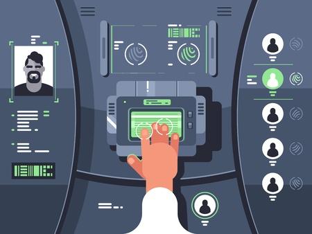 Ilustración de Removing fingerprints and identifying person - Imagen libre de derechos