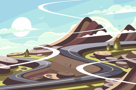 Illustration for Mountain asphalt road serpentine - Royalty Free Image